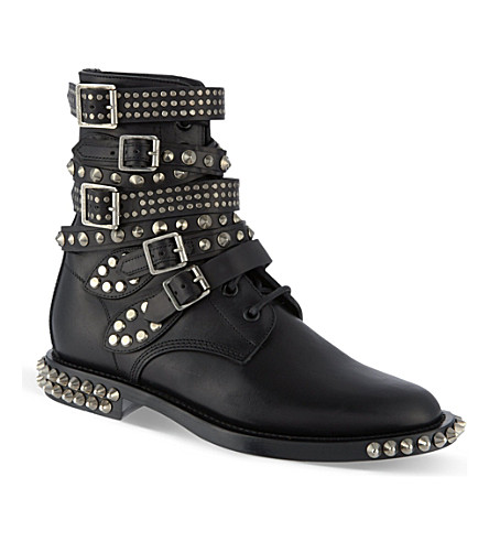 SAINT LAURENT Rangers studded leather boots (Black