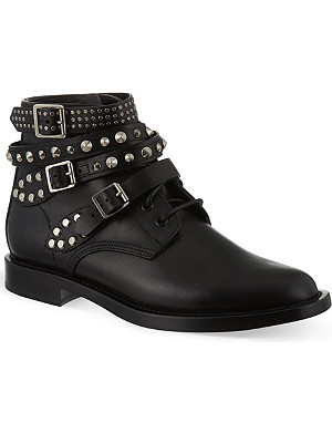 SAINT LAURENT Rangers short leather ankle boots