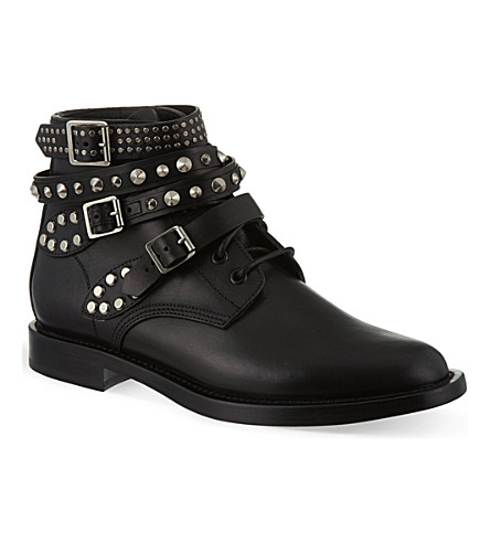 SAINT LAURENT Rangers short leather ankle boots (Black