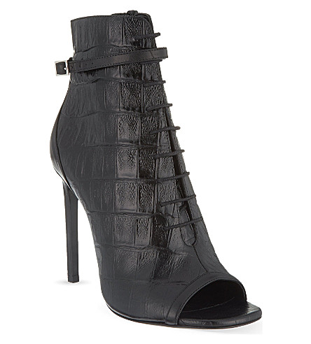 SAINT LAURENT Jane peep-toe booties (Black