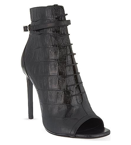 SAINT LAURENT Jane peep-toe booties (Black