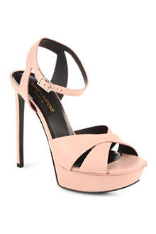 SAINT LAURENT Classic tribute sandals in pale blush leather