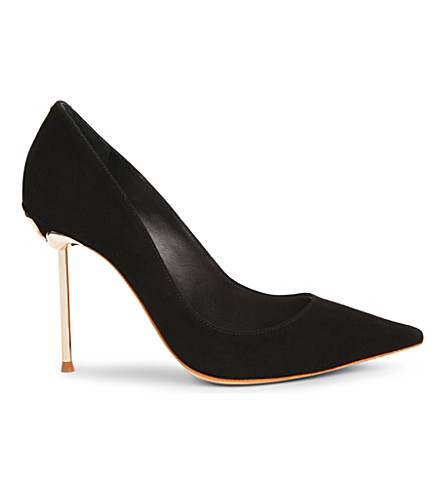 SOPHIA WEBSTER Coco Flamingo suede courts (Black