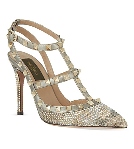 VALENTINO Embellished t-bar courts (Metal comb