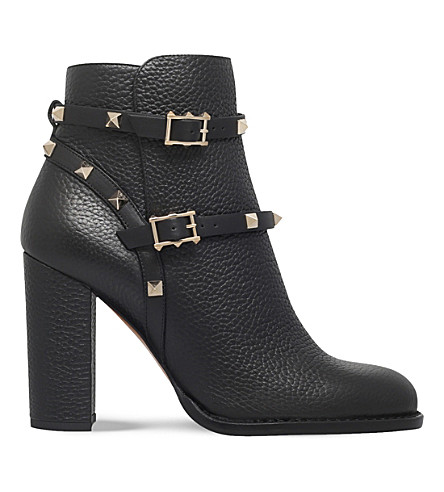 VALENTINO Rockstud leather ankle boots (Black