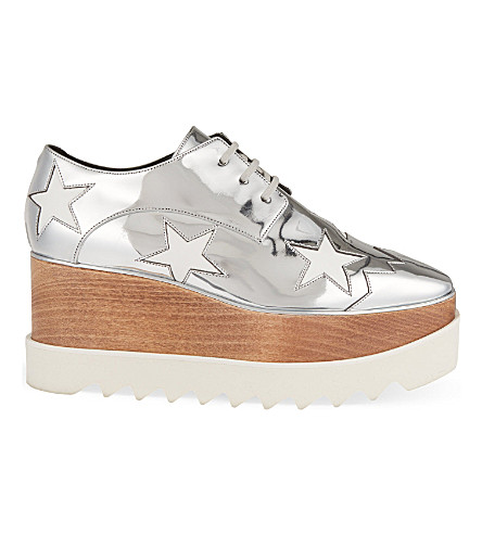 STELLA MCCARTNEY Elyse Indium flatform Derby shoes (Silver