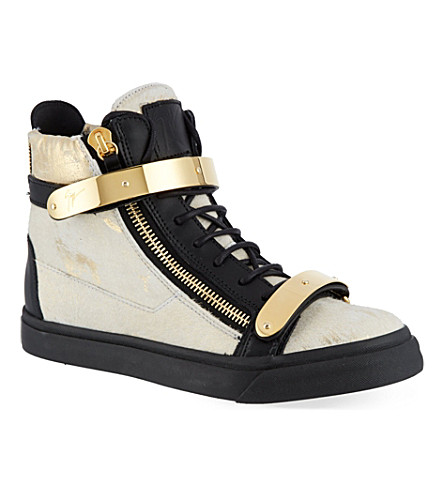 GIUSEPPE ZANOTTI Double buckle high-top trainers (Gold