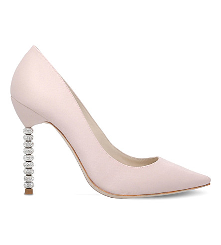 SOPHIA WEBSTER Coco crystal-heel satin courts (Pale+pink