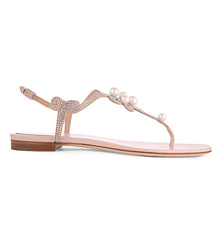 RENE CAOVILLA Solar Pearl and Swarovski leather sandals (Pale pink