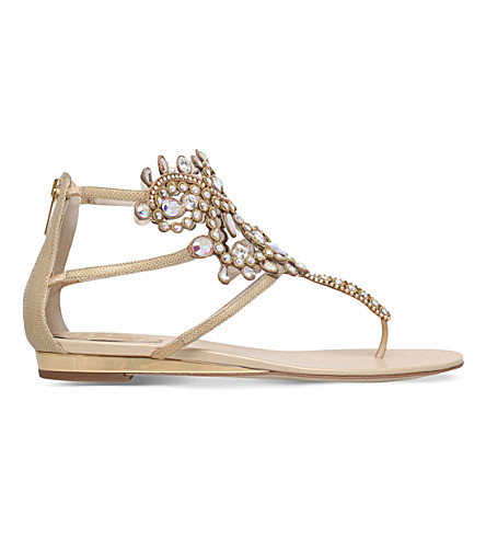 RENE CAOVILLA Twilight embellished leather thong sandals (Gold