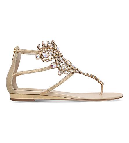 RENE CAOVILLA Twilight embellished leather thong sandals (Gold