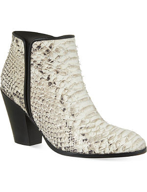 GIUSEPPE ZANOTTI Cote d'ivorie snake-embossed ankle boots
