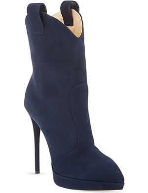 GIUSEPPE ZANOTTI Liberia suede heeled ankle boots