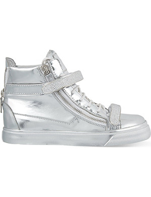 GIUSEPPE ZANOTTI Sparks jewelled strap high-top trainers