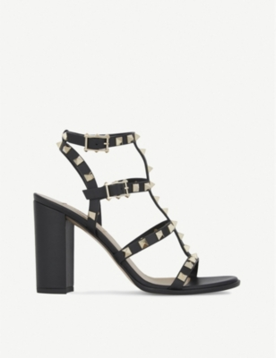 Rockstud Leather 90Mm City Sandal, Light Ivory in Black