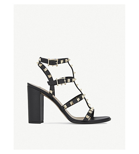 VALENTINO Rockstud 90 leather heeled sandals (Black