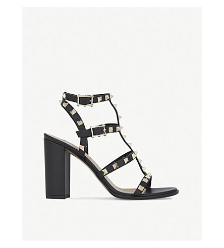 VALENTINO Rockstud 90 皮革高跟鞋凉鞋 (黑色