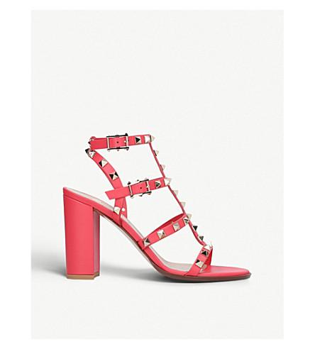 VALENTINO Rockstud 90 leather heeled sandals (Red