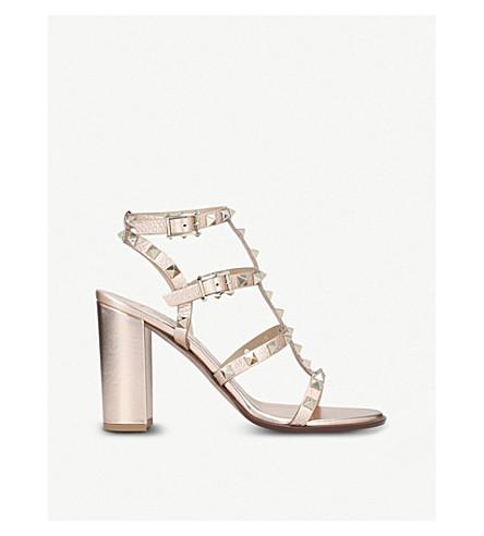 VALENTINO Rockstud 90 leather heeled sandals (Bronze