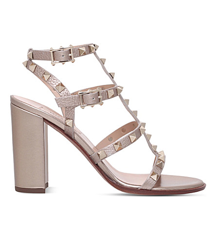VALENTINO Rockstud 90 leather heeled sandals (Bronze