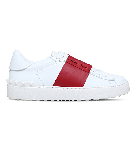 VALENTINO Garavani leather two-tone trainers (White/red