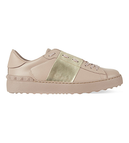 VALENTINO Open leather trainers (Beige oth