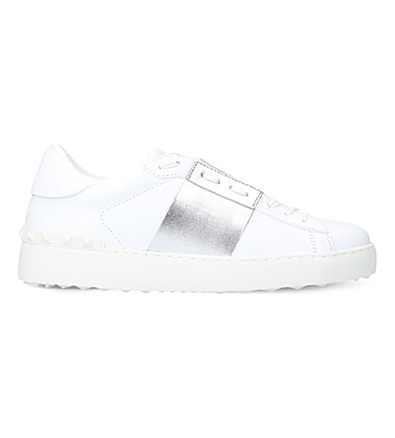 VALENTINO Open leather trainers (Silver