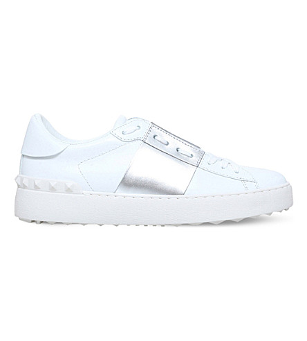 VALENTINO Open metallic-trim leather sneakers (Silver+com