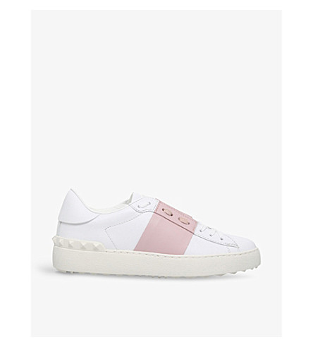VALENTINO Open studded leather trainers (Pink