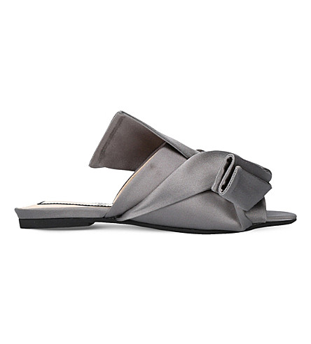 NO 21 Bow satin slippers (Grey