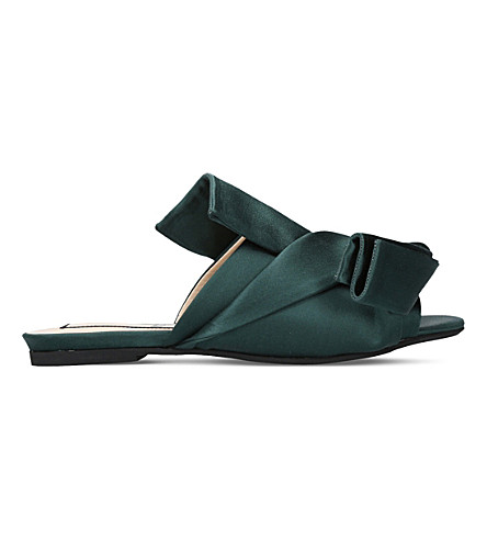 NO 21 Bow satin slippers (Mid+green