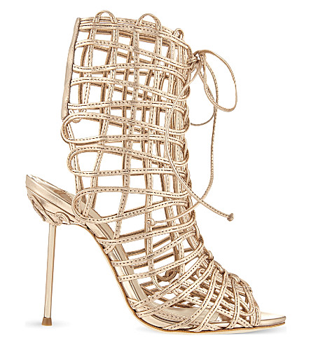 SOPHIA WEBSTER Delphine metallic leather gladiator boots (Gold