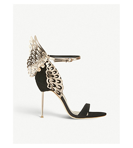 SOPHIA WEBSTER Evangeline winged suede heeled sandals (Blk/other
