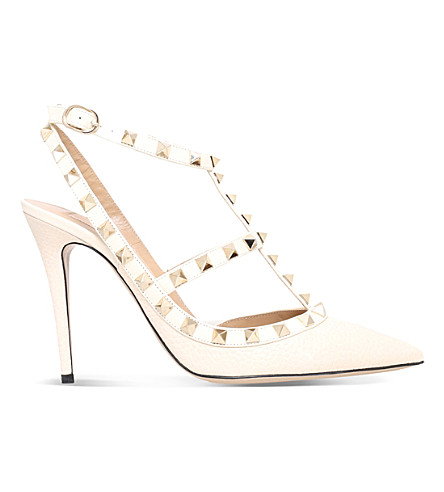 VALENTINO Rockstud 100 leather courts (Winter+wht