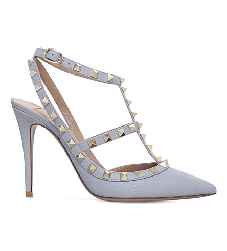 VALENTINO Rockstud 100 leather t-bar courts (Grey/light