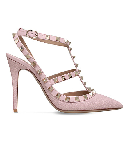 VALENTINO Rockstud 100 leather T-bar courts (Pale pink