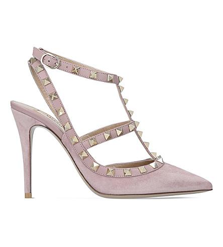 VALENTINO Rockstud 100 suede courts (Pale+pink