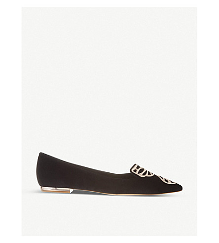 SOPHIA WEBSTER Bibi butterfly suede flats (Blk/other