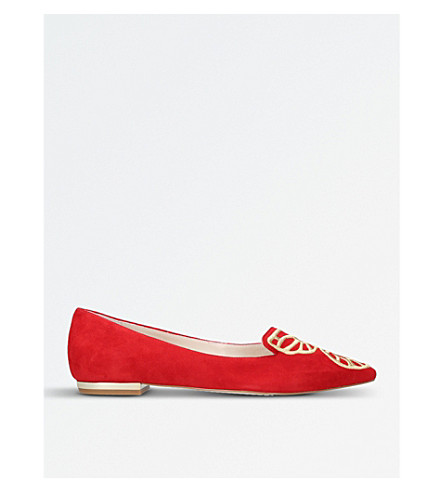 SOPHIA WEBSTER Bibi Butterfly embroidered suede flats (Red