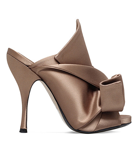 NO 21 Bow-detail satin mules (Pink comb