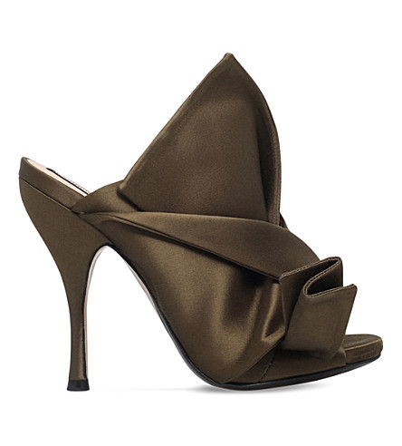 NO 21 Bow-detail satin mules (Khaki