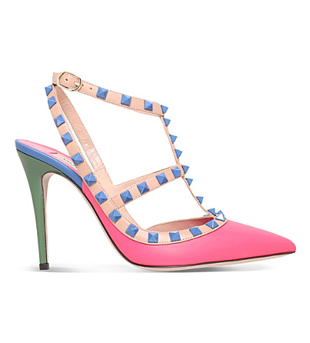 VALENTINO Rockstud 100 leather courts (Fushia cmb
