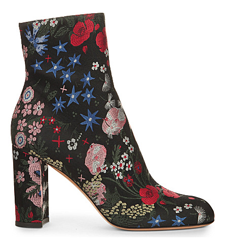 VALENTINO Garavani floral-jacquard ankle boots (Black/comb