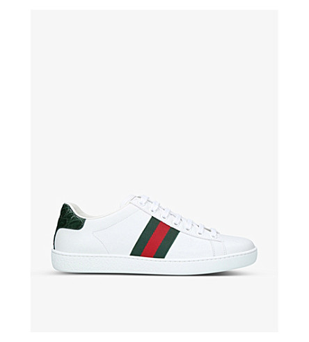 GUCCI New Ace leather and crocodile trainers (White