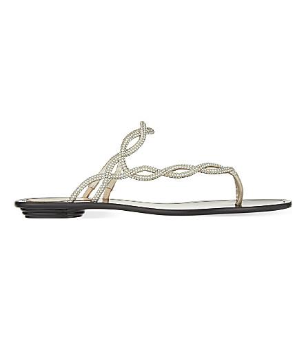 RENE CAOVILLA Asymmetrical flat sandals (Champagne