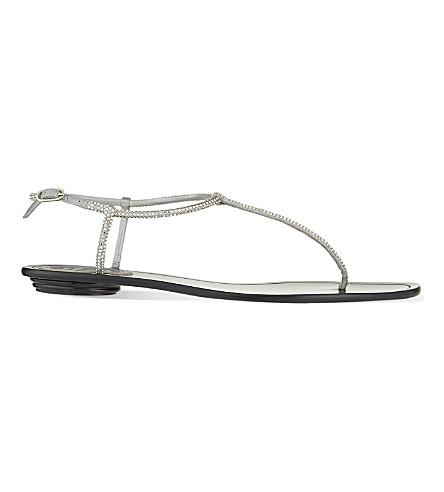 RENE CAOVILLA Crystal flat sandals (Silver