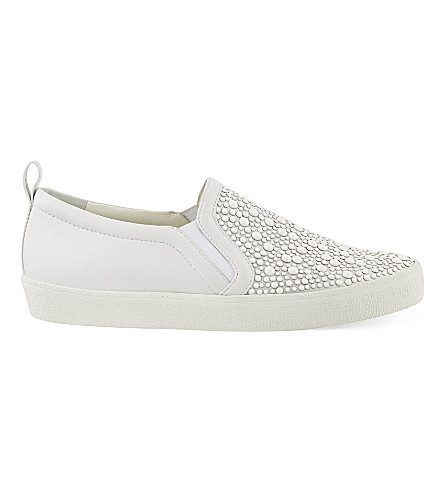 GINA Gioia embellished leather sneakers (White