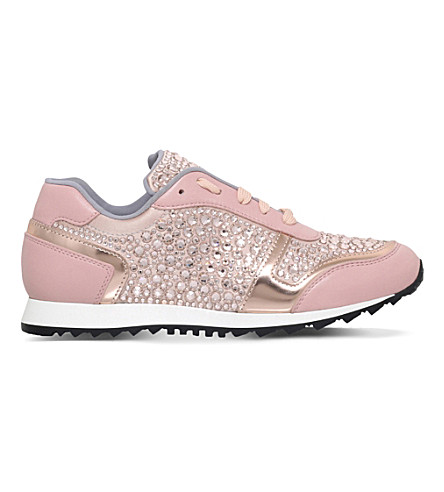 GINA Luminosas swarovski leather trainers (Pale+pink