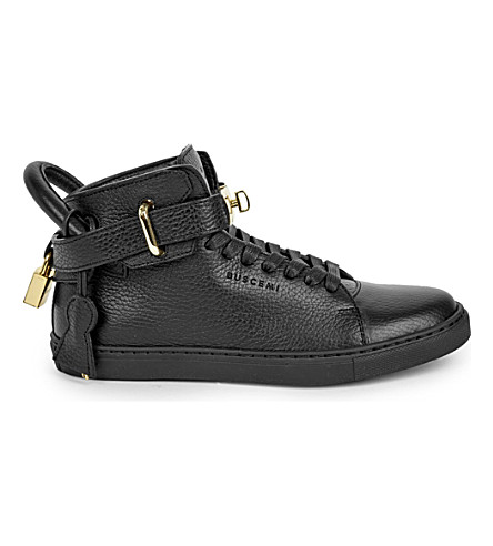 BUSCEMI Gold-clasp leather mid-top sneakers (Black