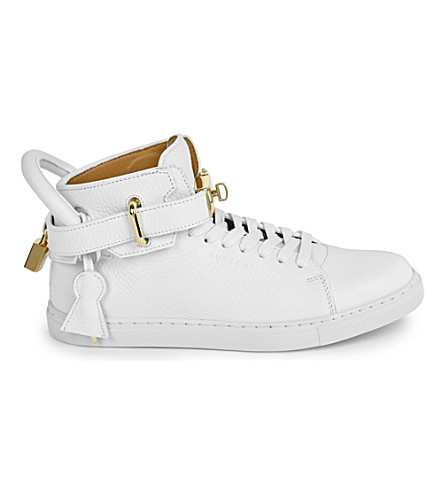 BUSCEMI Gold clasp mid-top leather trainers (White